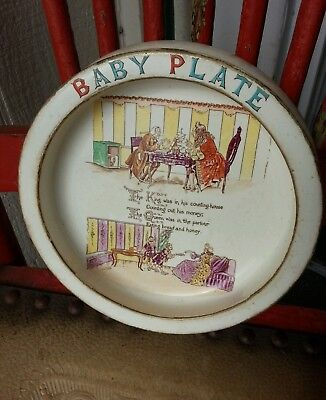 Old Vintage Arcadian China Baby's Plate With A Nursery Rhyme On The Inside
