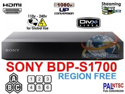 Sony Bdp-S1700 All Region Free Blu-Ray Dvd Player - Zone A B C Dvd: 0-8 Usb