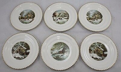 HARKERWARE CURRIER & IVES PLATES SET OF 2 WHITE WITH GOLD TRIM ...