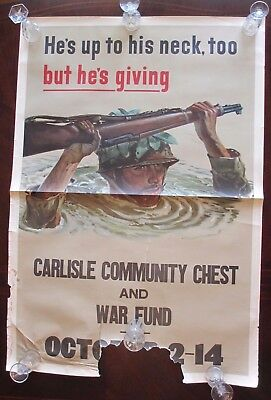 Original WW2 Moral Poster 25x38 He's up to His Neck Too but He's Giving Garand