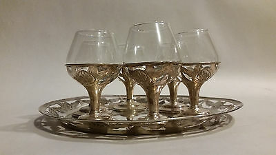 Sterling silver flower motif cordial set of 6 with tray