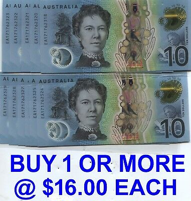 Aust 2017 Cons $10 Notes-Last Run #EA171762318 to #2329 - BUY 1 or More @ $16 ea