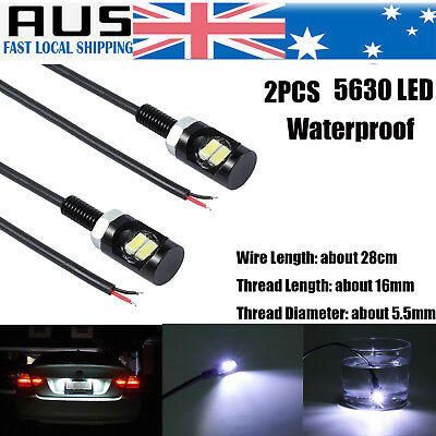 2X Car Motorcycle 5630 SMD Screw Bolt License Number Plate Light White Bulbs