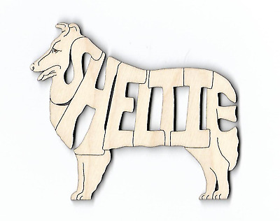 """Sheltie"" Shetland Sheepdog laser cut and engraved wood Magnet"