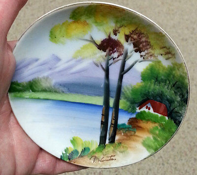 """Vintage Japan Hand Painted China Plate Hanging Artist Signed Trees Cottage 4"""""""