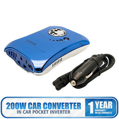 OZIO Car Converter Pocket Power Inverter DC 12V to AC 220V Invertor with USB UK