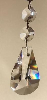 """Rare Style 2"""" Drop Crystal Prism w/2 Beads Hang at 3 5/8"""" Chandelier Candelabra"""