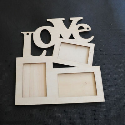 Hollow Love Wooden Family Photo Picture Frame White Base Art DIY Home Decor Gift