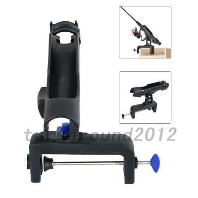 Black Fishing Boat Rods Holder with Large Clamp Opening 360 Degree Folding