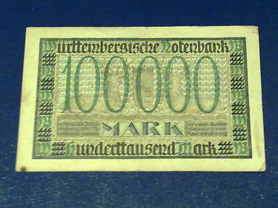 Germany - 100 000 Mark  Banknote 1923- Stutgart-Inflation - Very Fine