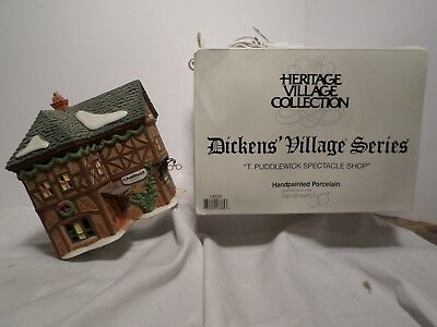 Dept 56 T. Puddlewick Spectacle Shop Dickens' Heritage Village Christmas in Box