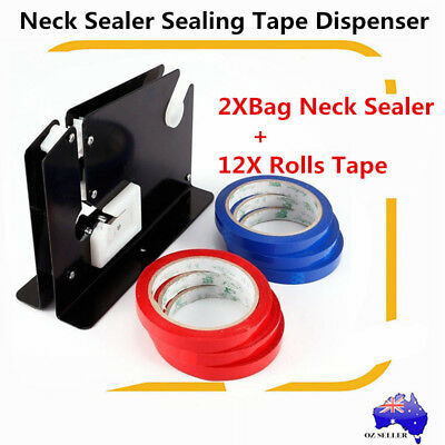 2X Black Plastic Bag Neck Sealer Sealing Tape Dispenser With 12 Roll Tapes AU