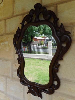 c.1975 Solid Mahogany Beautiful Floral Patterned Wall Hanging Mirror Unusual