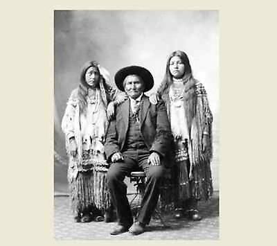 1907 GERONIMO and Nieces PHOTO, Apache Native American Indian Chief Portrait