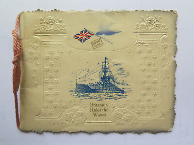World War I Christmas Greetings Card 1914 British Destroyer Pictured Good Luck