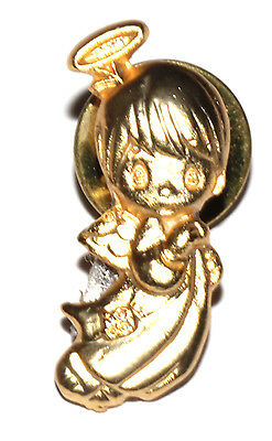 Vintage Gold Tone Precious Moments Angel Pin Clutch Back