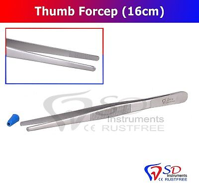 Thumb Dressing Forcep Tissue Holding Tweezer 16Cm Serrated Tip Surgical Steel Ce