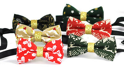 Boys Kids 100% Cotton Xmas Christmas Bow Tie Bowtie Party Wedding 1-6 YEARS OLD