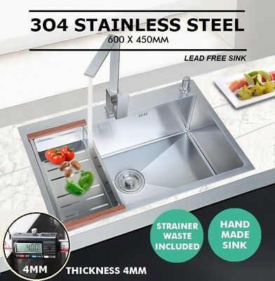 600x450mm Handmade Stainless Steel Under / Top mount Kitchen Laundry Single Sink