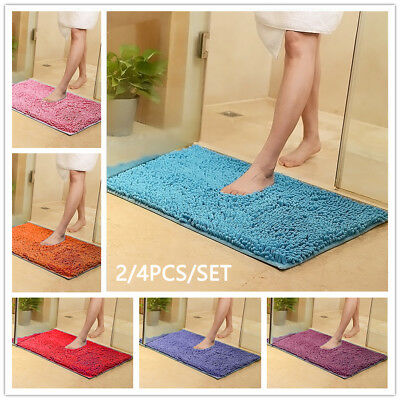 AU Anti Slip Loofah Shower Rug Bathroom Bath Mat Carpet Water Drains Non Slip