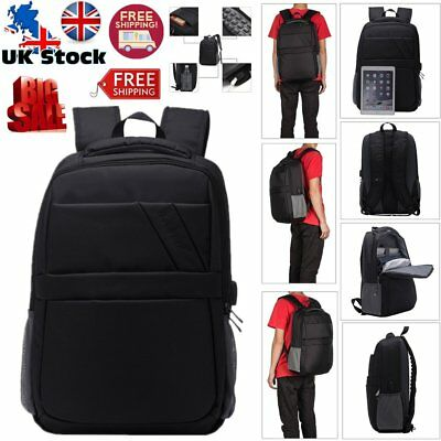 15.6 inch Travel Business Laptop Backpack Rucksack Bag with USB Charge Cable UK
