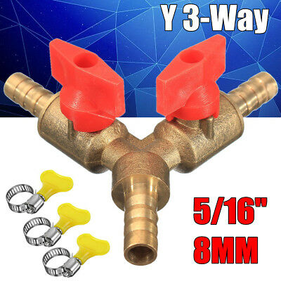 """5/16"""" 8mm Brass Y 3-Way Shut off Ball Valve Fitting Hose Barb Fuel Gas Clamp Tee"""