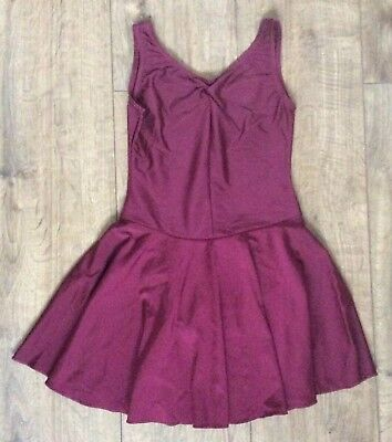 Jenetex Burgundy Ice Skating Dress Skirted Leotard Size 2 Approx Age 9-11 Years