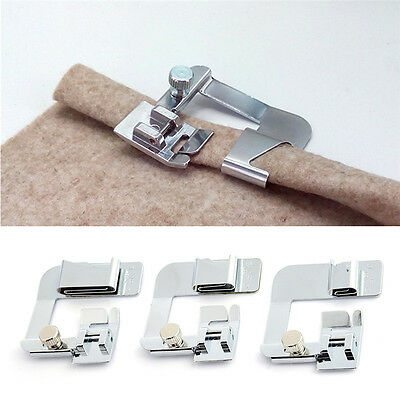3x Wide ROLLED HEM Hemmer Foot Set For Domestic Sewing Machines Snap on Presser