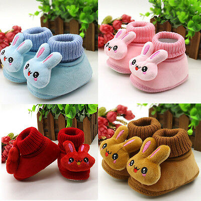 Toddler Baby Boy Girl Toddler Rabbit Boots Soft Sole Shoes Prewalker Winter Warm