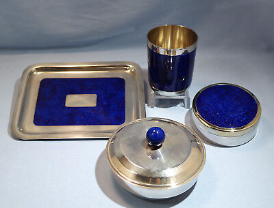 French Art Deco Silver Plate Boxes Tray Goblet Writing Set Jean Puiforcat C 1930