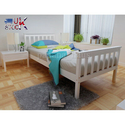 3ft Single Wooden Bed Frame 4ft6 Double Bed Solid Pine Wood Bed Frame In White