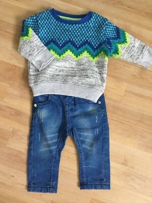 Next Baby Boys Winter Outfit Age 3-6 Months Jumper, Jeans, Bright Green, Blue