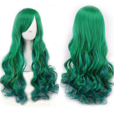 FX- Hairpiece Women Gradient Green Long Curly Wig Fluffy for Cosplay Party Rakis