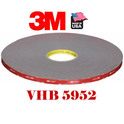 "3M #5952 VHB 1/2""In x 15'Ft Double Sided Foam Adhesive Tape Automotive Mounting"