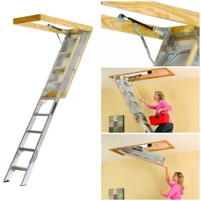 """Elite Aluminum Attic Ladder 350 lb 25.5""""by 54""""Opening Ceiling Height 7.9' to 10'"""
