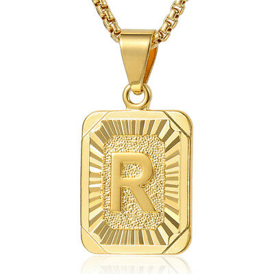 """18-24"""" MENS WOMENS Yellow Gold Plated Initial Letter A-Z Pendant Chain Necklace"""