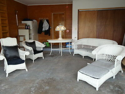 Vintage (6) Pc. Art Deco Wicker Set  Circa 1920's   White   All Pcs. Sturdy !!!!