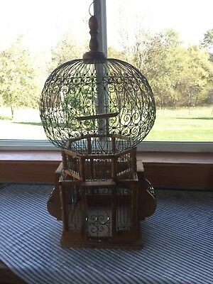 "Vintage Antique Victorian Style Ornate Wire / Wood  Sphere Bird Cage 25"" Tall"