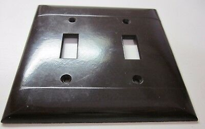 Vintage PS Sierra Brown Smooth Bakelite 2 Lines Ribs Gang Switch Plate Cover
