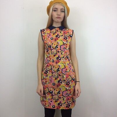 Vintage 60s Navy Blue Pink Yellow Psychedelic Floral Print Cotton Mini Dress 8