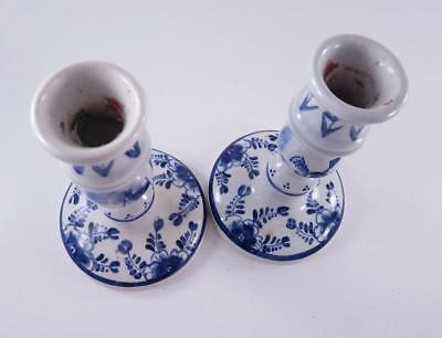 Pair Of Vintage Delft Blue Hand Painted Candlesticks