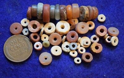 50+ Sahara desert found disk beads, mostly stone with some ostrich shell beads
