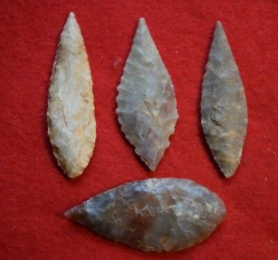4 nice, ovate Sahara Neolithic points/tools, largest  2 3/16th inch (55 mm)