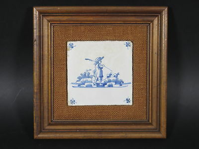 "Antique 18c Blue Delft Fisherman Wall Tile Framed (5 1/8"" x 5 1/8"") Ceramic"
