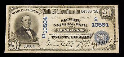 1902 $20 Security National Bank Of Dallas Texas Bank Note