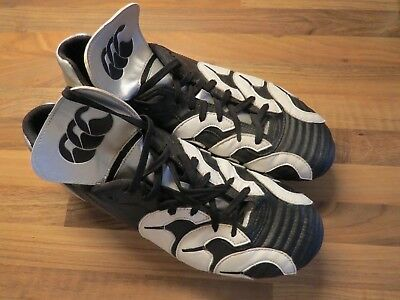 Canterbury Rugby Boots Size 11 Black White Silver Good Used Condition