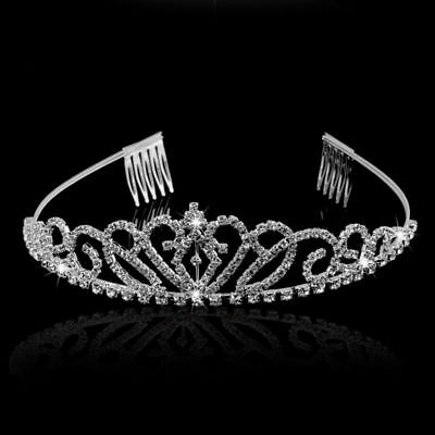 Wedding Bridal Prom Rhinestone Tiara Crown Hairband Hair Loop with Small Comb
