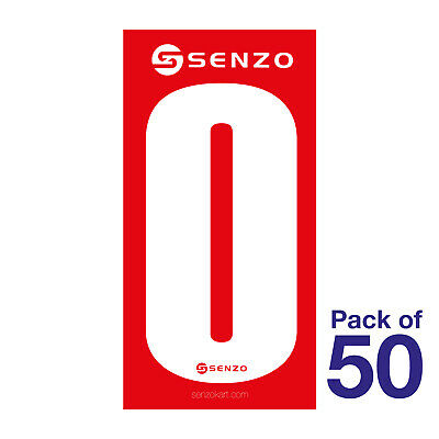 0 Number Pack of 50 White on Red Senzo