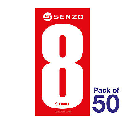 8 Number Pack of 50 White on Red Senzo