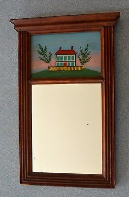 VINTAGE COUNTRY HALL MIRROR with REVERSE PAINTING